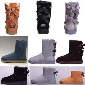 UGG Boots Femmes bottes Court Mini Australie Classique Au Genou Grand Hiver Bottes De Neige Designer Bailey Bow Cheville Noeud papillon Noir Gris châtaigne rouge 36-41