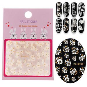 New Hot Fashion Lace Nails Art Sticker 3D Fleurs strass eau de transfert d'argent autocollant blanc art manucure Foil