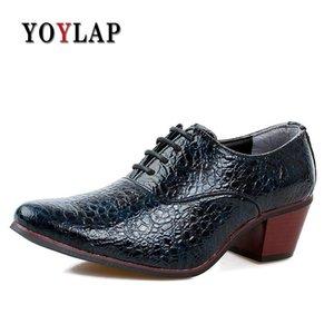 Erkekler Elbise Brogue Düğün Sapato Masculino için Yoylap Erkek Deri Ayakkabı Yüksek Topuk 6 Cm Casual Oxford Ayakkabı