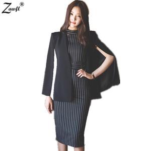 ZAWFL Alta qualità 2 pezzi Set vestito abito ufficio Nuovo 2019 Moda scollo a V Sexy Slim eleganti donne Vestito aderente vestito matita D19011104