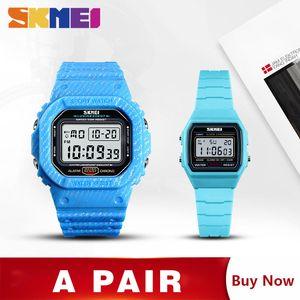 SKMEI мужские детские часы секундомер Цифровые спортивные наручные часы будильник неделя Спорт час дети мужчины пара montre homme 1471 1460 комплект