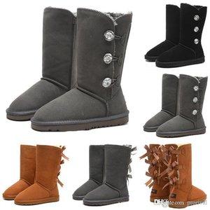 Hoch neue Winterstiefel WGG Bowtie Kristall Damen Australien Mode-Klassiker Luxuxentwerfer Knie Stiefeletten Schwarz Grau Chestnut-Schnee-Stiefel