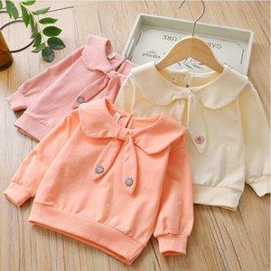 Bebek Tişörtü Kızlar Kapüşonlular Elbise Paketleme Cihazları Kulaklar Ceket Karikatür Doll Yaka Coat Çocuk Casual Uzun Kollu Dış Giyim Jumper Kazak AYP324