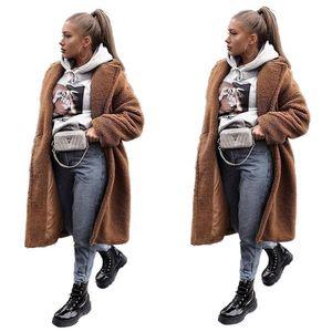 Felpa mujeres abrigos de invierno floja elegante color sólido Manga larga de la solapa de cuello grueso X-capas largas manera de las mujeres abrigos