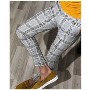 Sonbahar Erkek İşaretli Pantolon Biçimsel Akıllı Casual Büro İş Elbise Pantolon Elastik Düz Ekose Erkek Pantolon Artı boyutu