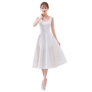 OL Women Dress 2020 Knee Length Satin Cocktail Dresses with Pockets Vintage Scoop Neck Party Gowns