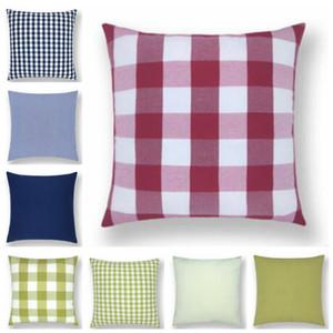 Cuscino Case Solid plaid rosso o un'immagine banda normale copertura di colore di campagna Tema casa federa divano federa Home Decor D14