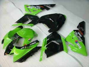 KAWASAKI Ninja ZX10R için Motosiklet Fairing kiti 04 05 ZX 10R 2004 2005 ZX-10R yeşil parlak siyah Marangozluk seti + 7 vites KJ32