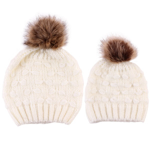 Baby kids pompon knitted hat children knitting beanie infant kids all matching warm hat mother and daughter beanie A2842