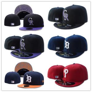 Todos Team Equipado Chapéus Rockies e Phillies e tigres Baseball chapéus bordados LA letra logotipo completa fechada Caps Unisex