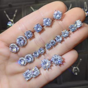 AU750 Stamp Moissanite orecchini 925 dell'oro bianco 18K taglio brillante 0.5 Carat D Colore Orecchini di diamanti Stud per le donne