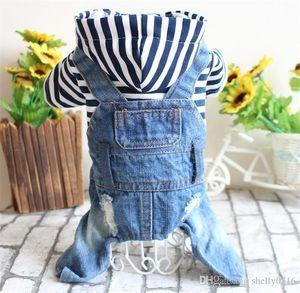 Pés Pet roupas de primavera e verão Teddy Bear Dog Quatro listrados suprimentos Denim com capuz Jumpsuit Pet