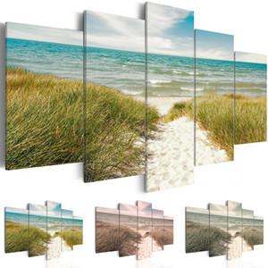 (No Frame) Modern Scenic Beach Grassland impression sur toile Art moderne peinture design de mode pour la décoration de la maison, choisissez la taille de couleur