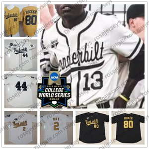 2019 CWS Vanderbilt Commodores # 3 Cooper Davis 5 Philip Clarke 8 Isaiah Thomas 10 Ethan Paul 16 Austin Austin Cream Black Baseball Jersey
