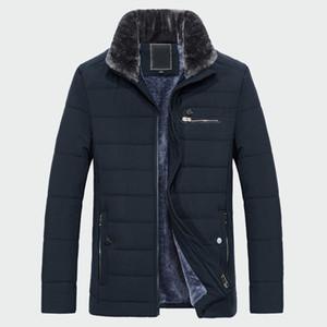 Pelz-Kragen-Winter-Männer warmer Mantel dicke Fleece-Fashion Solid Lange Jacken Herren-Marken-Kleidung Männlich Overcoat