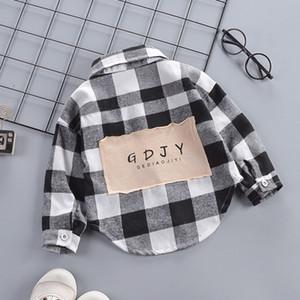 Мальчики Kidst размеры рубашки Дети Рубашка в клетку Тонкое нижнее белье рубашки с длинным рукавом детские дизайнерские дети печать рубашки Корейский прилив одежда мальчик