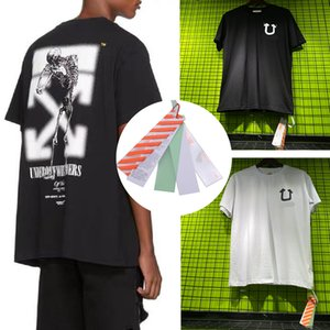 20ss мужская футболка хорошее качество S-XL, череп шаблон унисекс рубашки с короткими рукавами мода off black whiter хлопок тройники популярные мужские печатные топы