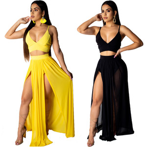 Summer V Neck Crop Top et Maxi Jupe Set High Split Beach Casual 2 Pieces Tenues Pour Les Femmes Set Dames En Mousseline De Soie Maxi Vêtements