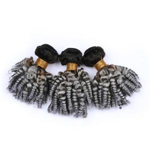 실버 그레이 옴 브린 버진 브라질 인간의 머리카락 Aunty Funmi Bundles Deals 3Pcs # 1B / Grey Dark Root 옹 브르 인간의 머리카락이 곱슬 확장을 만듭니다