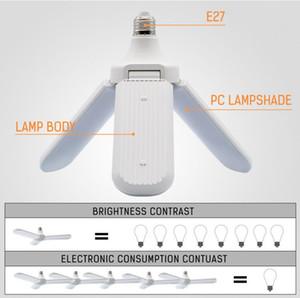 95-265V 45W E27 LED ampoule super lumineux pliable angle de lame de ventilateur plafond réglable lampe maison économie d'énergie lumières CE RoHS