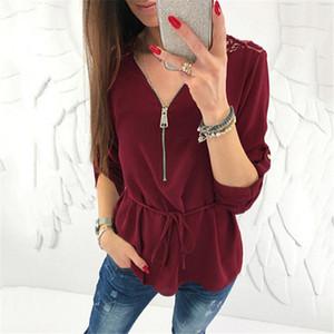 Женщины Блузка И Топы 2020 Мода Женщины Блузки С Длинным Рукавом Молния V Шеи Блузка Назад Выдалбливают Кружева Блузки Рубашка Дамы Топы