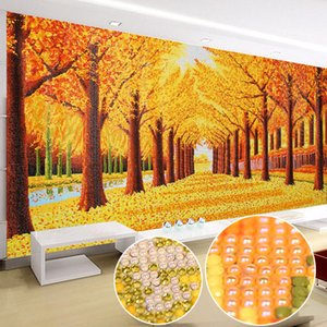 Special Shaped Diamond Painting Gold Floor Tree DIY 5D Full Drill round Cross Stitch Kit Crystal Rhinestone Arts Landscape Large