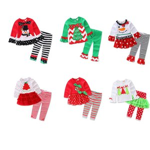Baby Christmas Striped Suit Child Cartoon tops pants Xmas Autumn Payamas Outfits Kids Girls home clothing Sleepwear Pyjamas LJJA3354-42