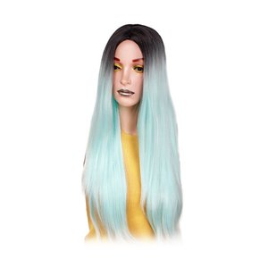 Black Gradient Cyan Long Straight Middle Part Wigs Synthetic Hair Women Wigs, Cosplay party Dress Up