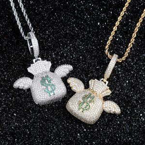 Flying Money Bag Pingente Ins Moda Hip Hop Jóias para fora congelado Mens Gold Pendant Colares