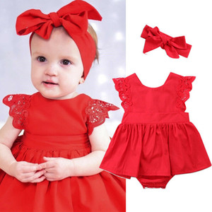 Baby Christmas Clothing Newborn Baby Girls Kids Xmas Lace Romper Dress Party Dresses Jumpsuits Costume
