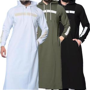 2020 Neue Männer Kleid Muslim arabisches Gewand Fest Farbe Ganzkörper Sweatshirt Langarm-Kapuzen-islamische Männlich Lässige Kleidung