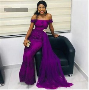Elegant Purple Prom Dress 2020 African Evening Party Gowns Boat Neck Off Shoulder Backless Lace Applique Beading Custom Made
