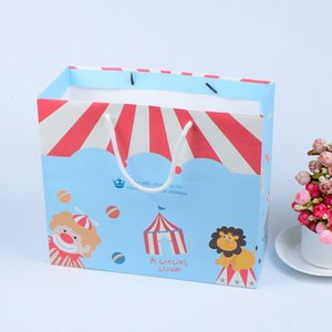 20 pcs paper bag with handle Circus handbags gift bags christmas Fashionable Kids Desserts cake home party birthday customized