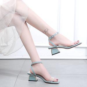 Sexy2019 Joker Femme Sandales En Grossier Avec Le Dos Transparent Traversant Une Boucle Apportent Fée Rome Chaussure