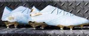 Nemeziz Messi 19,1 FG 15º aniversário edição especial de alto grau ligadura tecida camada impermeável sapato futebol Formação Sneakers ginásio corrida