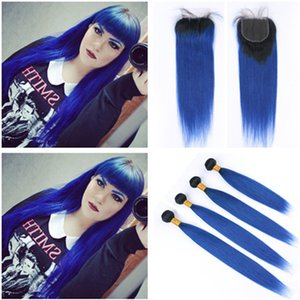 #1B Blue Dark Root Ombre Peruvian Virgin Human Hair Wefts with Closure 4Bundles Dark Blue Ombre Straight Weaves with 4x4 Lace Closure Piece