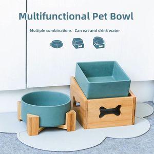 Ceramic Dog domestico del gatto del cucciolo Bowl alimentatore alimentazione dell'acqua Ciotola staccabile regolabile in altezza ad alta capacità singolo e doppio Bowl