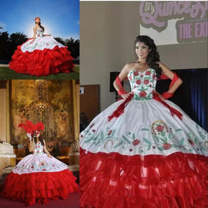 2020 Sexy Sweetheart Neck Embroidery Ball Gown Quinceanera Dresses Satin Sweet 16 Dress Lace Up Floor Length Vestido De Festa