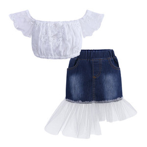 New Girls Sets Children Summer Suit Skirts Strapless Tops + Fashion Mesh Jeans Skirts 2020 Style Children Two-piece Kids Casual Suits