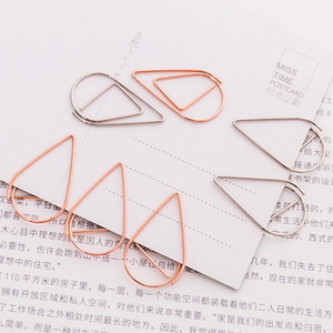 Gold Silver Color Funny Kawaii Bookmark Office School Stationery Marking Clips 10 pieces Lot Portable Plastic Drop Shaped Paper Clips DH0435