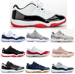 Yeni 11 Düşük Beyaz Yılan derisi Gri Lacivert Gum Barons Basketbol Ayakkabı Erkekler Kadınlar 11'ler Georgetown Kızılötesi Rose Gold Sneakers ile Kutusu Soğuk Bred