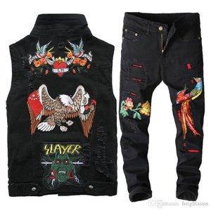 2019 set di pezzi due dei nuovi uomini di maglia del denim lavato nero casual Wild Eagle Fiore Tops + forata Slim Fit ricamato Phoenix Pantaloni Jeans Abiti