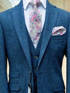 Формальные случаю платье мужские костюмы 3 шт. мужская британская шерсть синий твидовый костюм куртка жилет брюки на заказ высокое качество свадебные смокинги