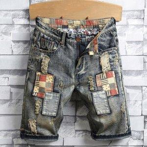 Hombre nuevo de la manera pantalones vaqueros rasgados cortos Ropa de la marca de alta calidad de los cortocircuitos del verano transpirable pantalones cortos de mezclilla masculino