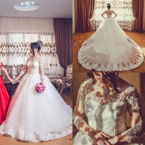 New Sheer Neckline Lace Appliques Ball Gown Wedding Dresses Vintage 3 4 Long Sleeves Covered Buttons Back Wedding Bridal Gowns Wed Dress Wed