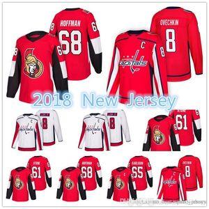 2018 Yeni Washington Capitals Ottawa Senatörler Jersey Erkekler 8. Alex Ovechkin 61 Mark Stone 65 Erik Karlsso 68 Mike Hoffman Formalar
