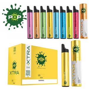 POP Xtra dispositivo desechable precargada 3,5 ml 550mAh batería de la vaina 1000 Puff Vape Vacía pluma VS elegante bar PLUS MR resplandor de vapor