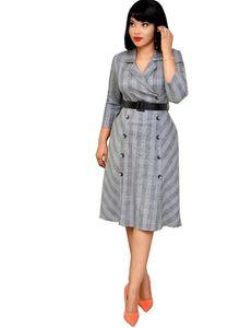 Office lady style fashion plaid a-line dress turn down collar 3 quarter sleeve midi dress double breasted elegant shirt