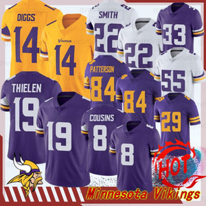 Minnesota 19 Adam Thielen 14 Stefon Diggs Homens nova Jerseys Viking 22 Harrison Smith 8 Kirk Cousins 84 Randy Moss 33 Cozinhe Hughes Hunter Barr