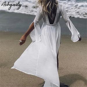 Ashgaily 2019 Abito da spiaggia Cover Up Tuniche per spiaggia Bikini lungo Cover Up Solido ricamo Sarong Beach Costume da bagno Coverup Y19071801